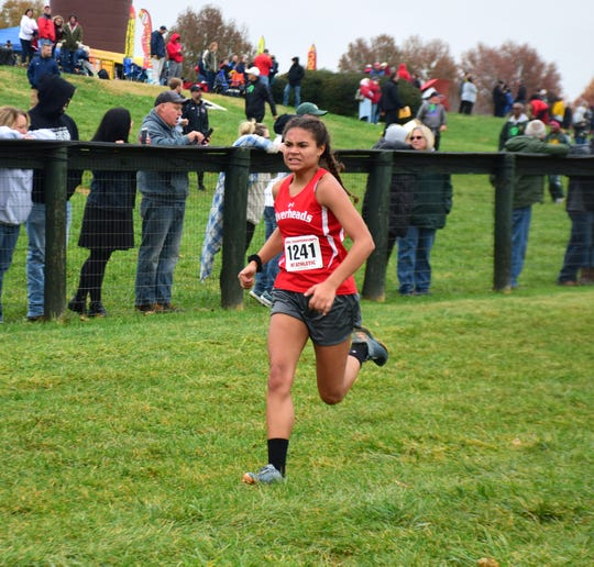 Riverheads' Jordan Jones heads for the finish line of the Class 1 girls race at the VHSL Cross Country Championships on Friday, Nov. 9, 2018, at Great Meadow in The Plains, Va.