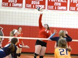 Riverheads' senior Olivia Modlin discusses her team's win in the state volleyball quarterfinals Saturday.