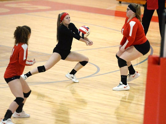 Riverheads' Samantha Persinger digs the ball up Saturday afternoon in the Class 1 state quarterfinal volleyball match against Middlesex.