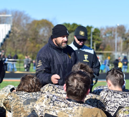 Buffalo Gap head coach Andy Cline talke with his team after its victory over Clarke County in the first round of the VHSL Class 2, Region B football playoffs on Saturday, Nov. 10, 2018, at Wilbur M. Feltner Stadium in Berryville, Va.