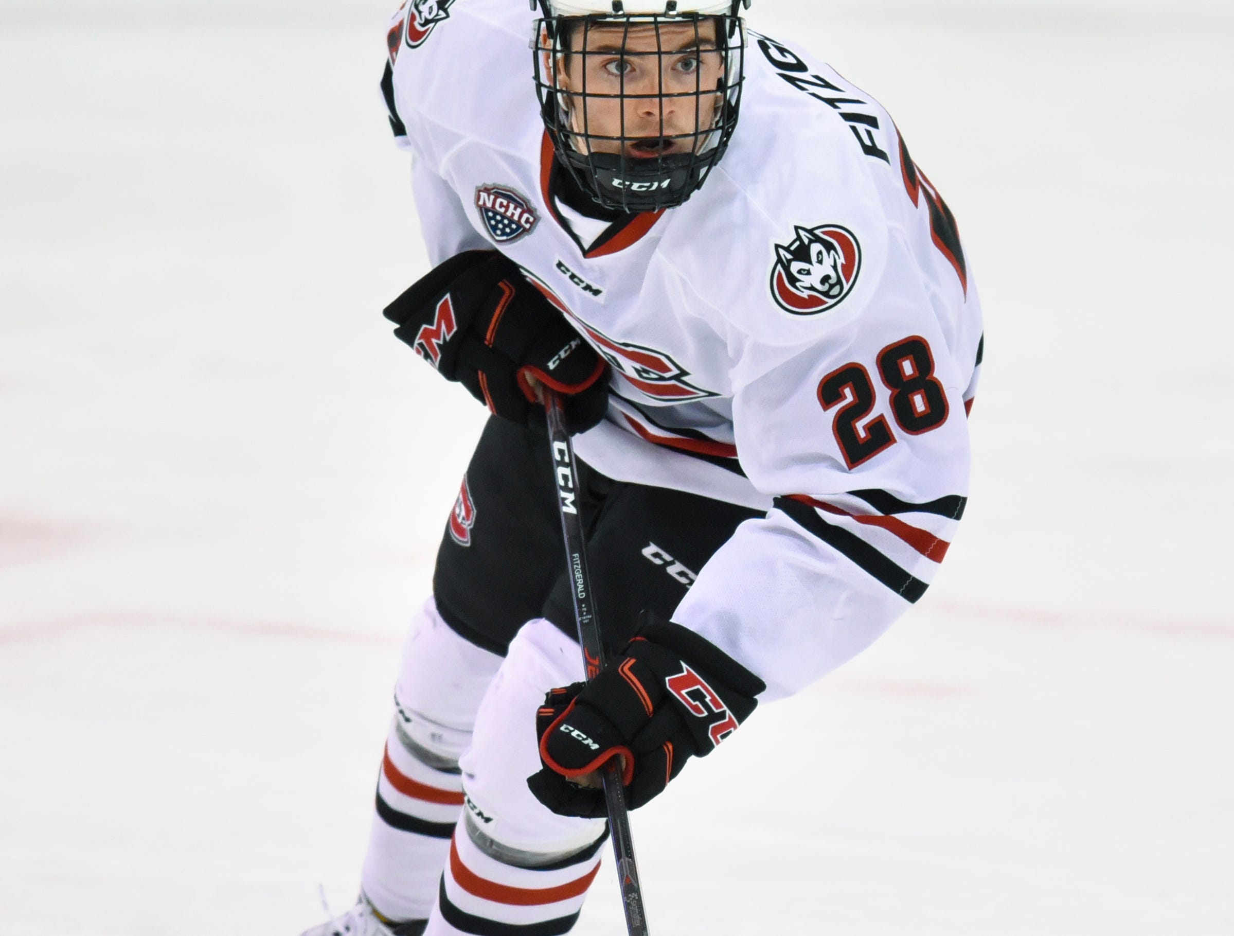 St. Cloud State's Kevin Fitzgerald skates with the puck during the first period of the Friday, Nov. 9, game against Denver at the Herb Brooks National Hockey Center in St. Cloud.