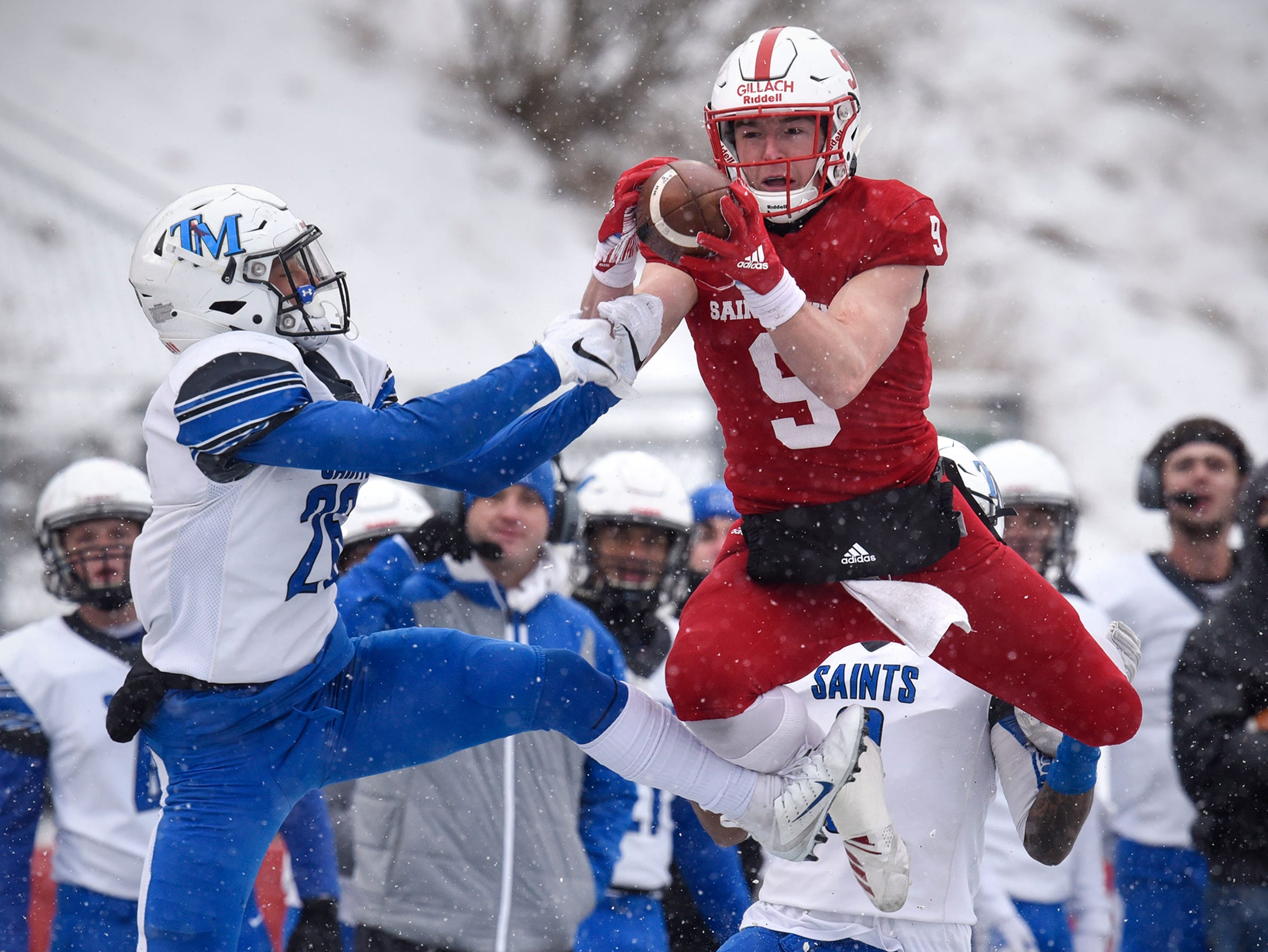 Will Gillach of St. John's leaps to make a reception during the first half of the Saturday, Nov. 10, game against Thomas More University at Clemens Stadium in Collegeville.