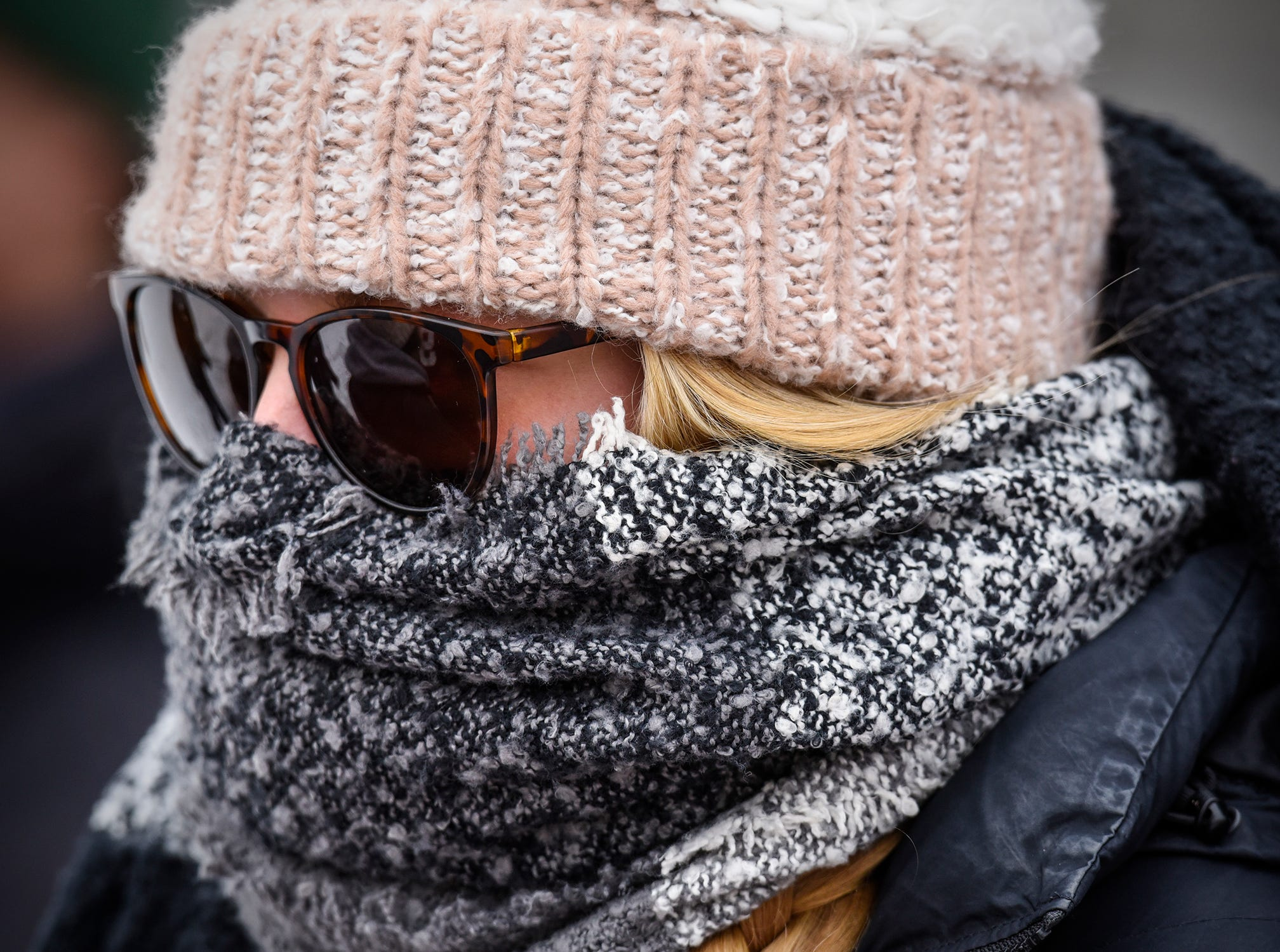 Maddie Koebnick is bundled up against the cold during the Saturday, Nov. 10, game at Clemens Stadium in Collegeville.