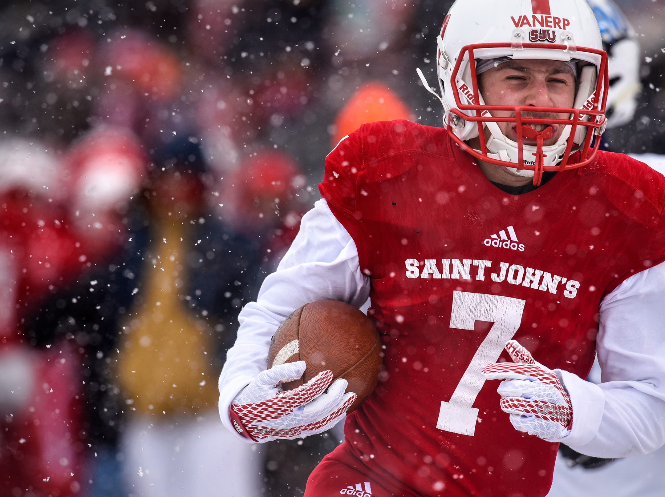 Andrew VanErp scores a touchdown for St. John's during the first half of the Saturday, Nov. 10, game against Thomas More University at Clemens Stadium in Collegeville.