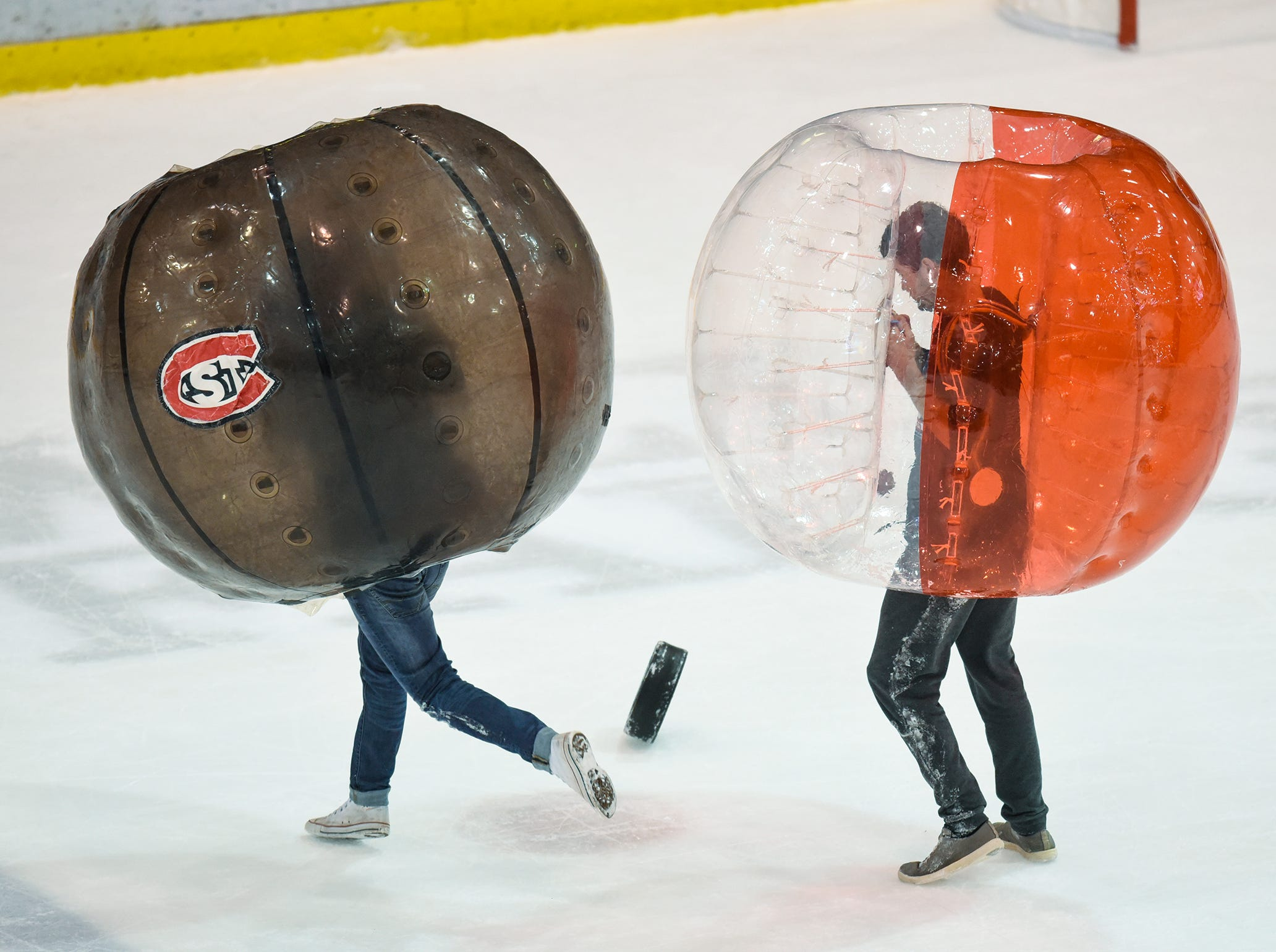 Fans provide entertainment between periods Friday, Nov. 9 at the Herb Brooks National Hockey Center in St. Cloud.