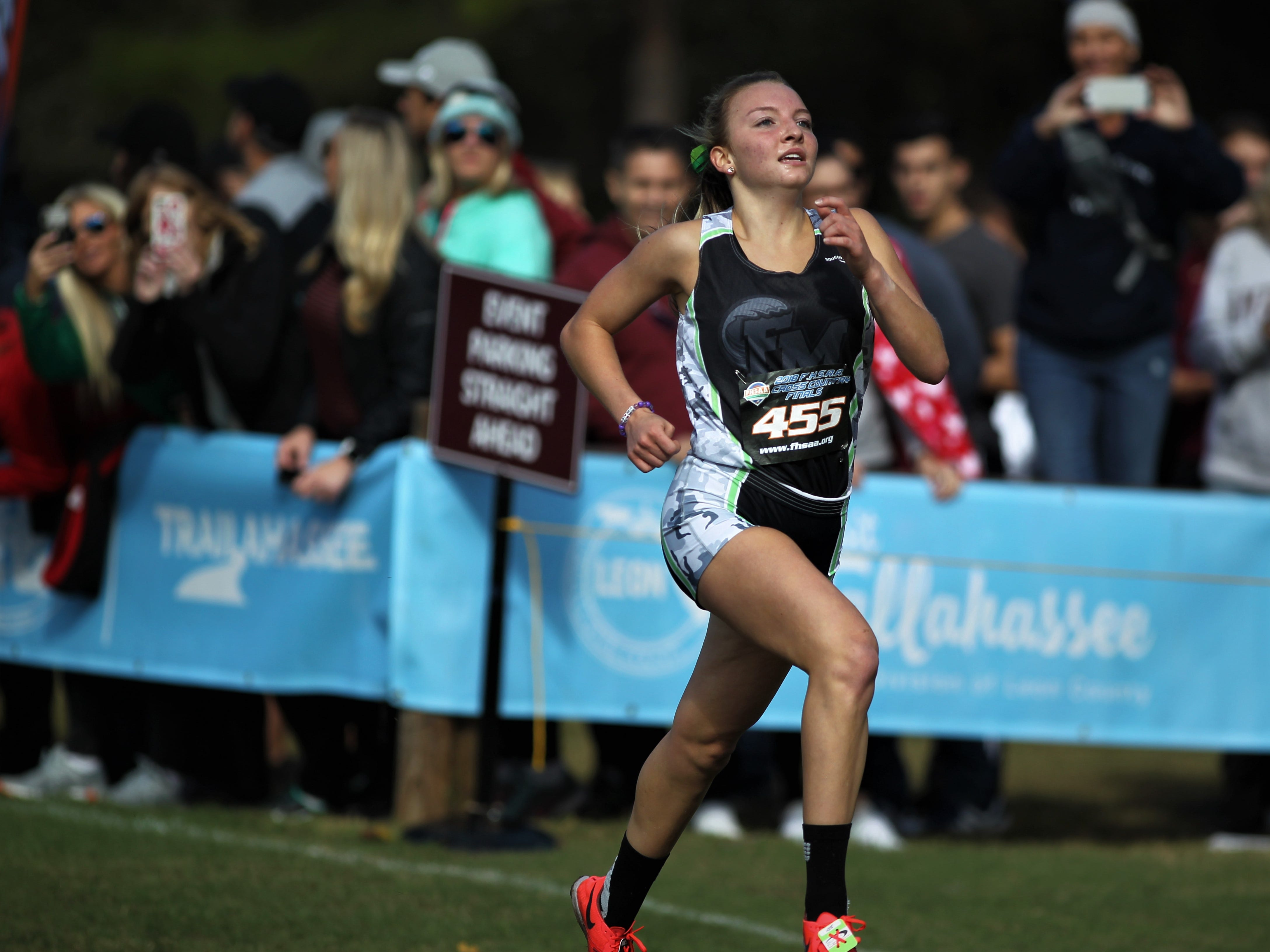 Fort Myers junior Stephanie Ormsby runs to a 20th place finish in the Class 3A girls race of the FHSAA Cross Country State Championships at Apalachee Regional Park in Tallahassee, Saturday, Nov. 11, 2018.