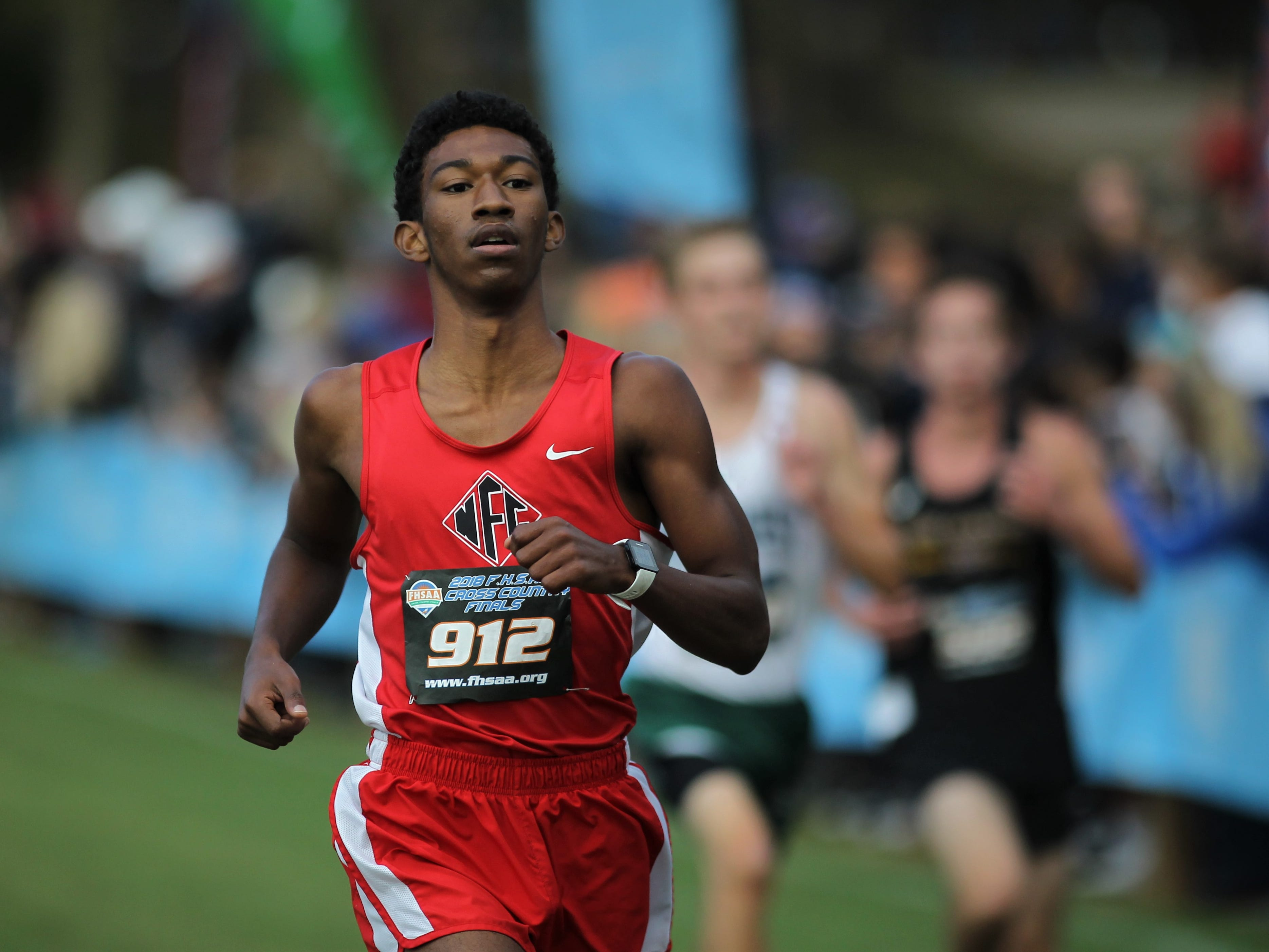North Florida Christian junior David Keen races to the finish of the Class 1A boys race in the FHSAA Cross Country State Championships at Apalachee Regional Park on Saturday, Nov. 10, 2018.
