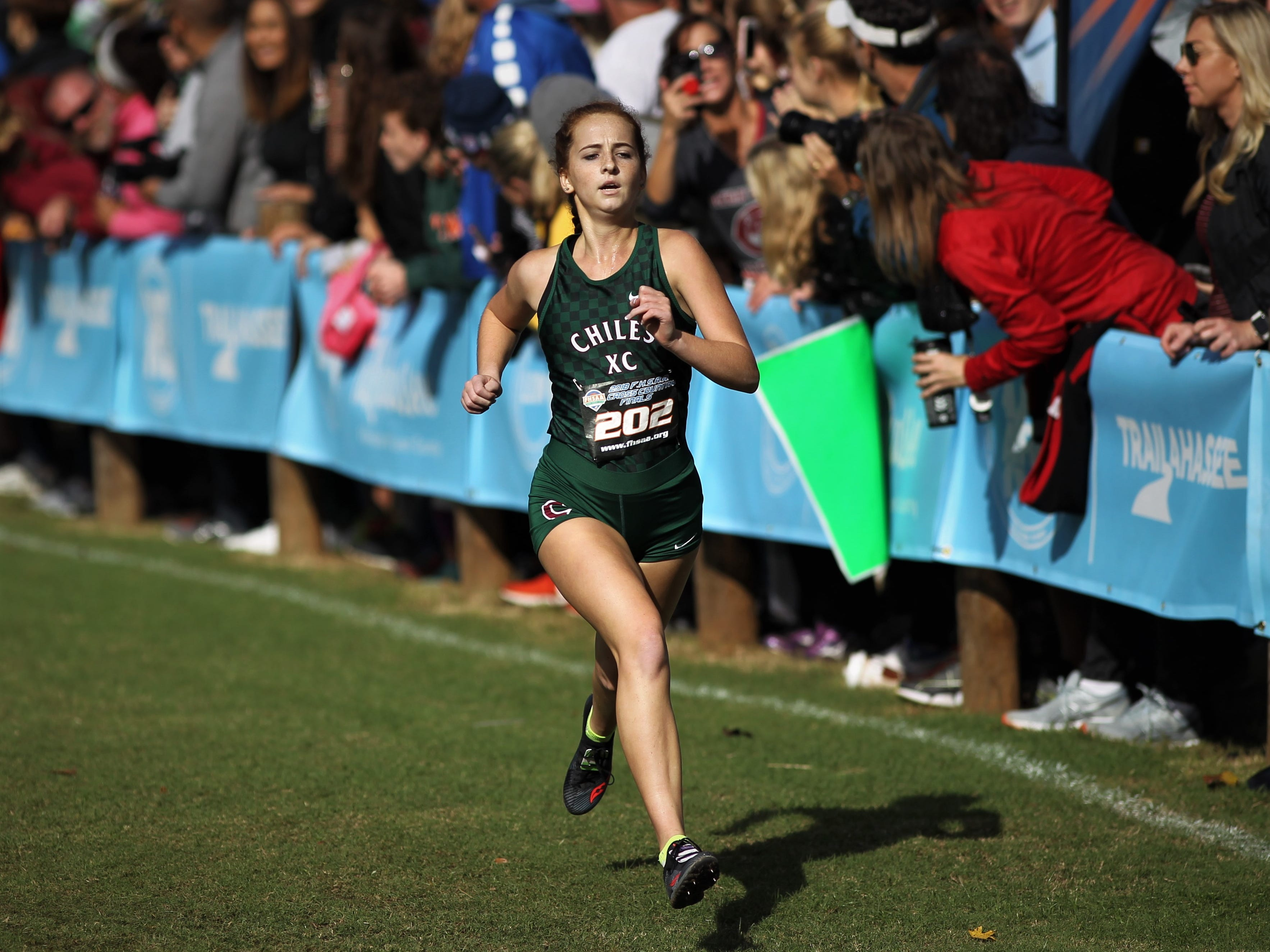 Chiles senior Emily Culley races to the finish of the Class 3A girls race in the FHSAA Cross Country State Championships at Apalachee Regional Park on Saturday, Nov. 10, 2018. Culley finished fifth and the Timberwolves won their second straight state title.