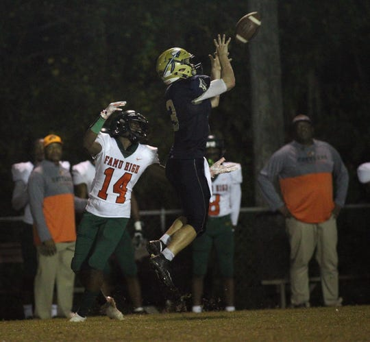 Warriors defensive back Brady Browning makes a 55-yard interception return touchdown, but FAMU DRS defeated Aucilla Christian 28-7 in a Region 1-2A quarterfinal playoff game on Friday, Nov. 9, 2018.