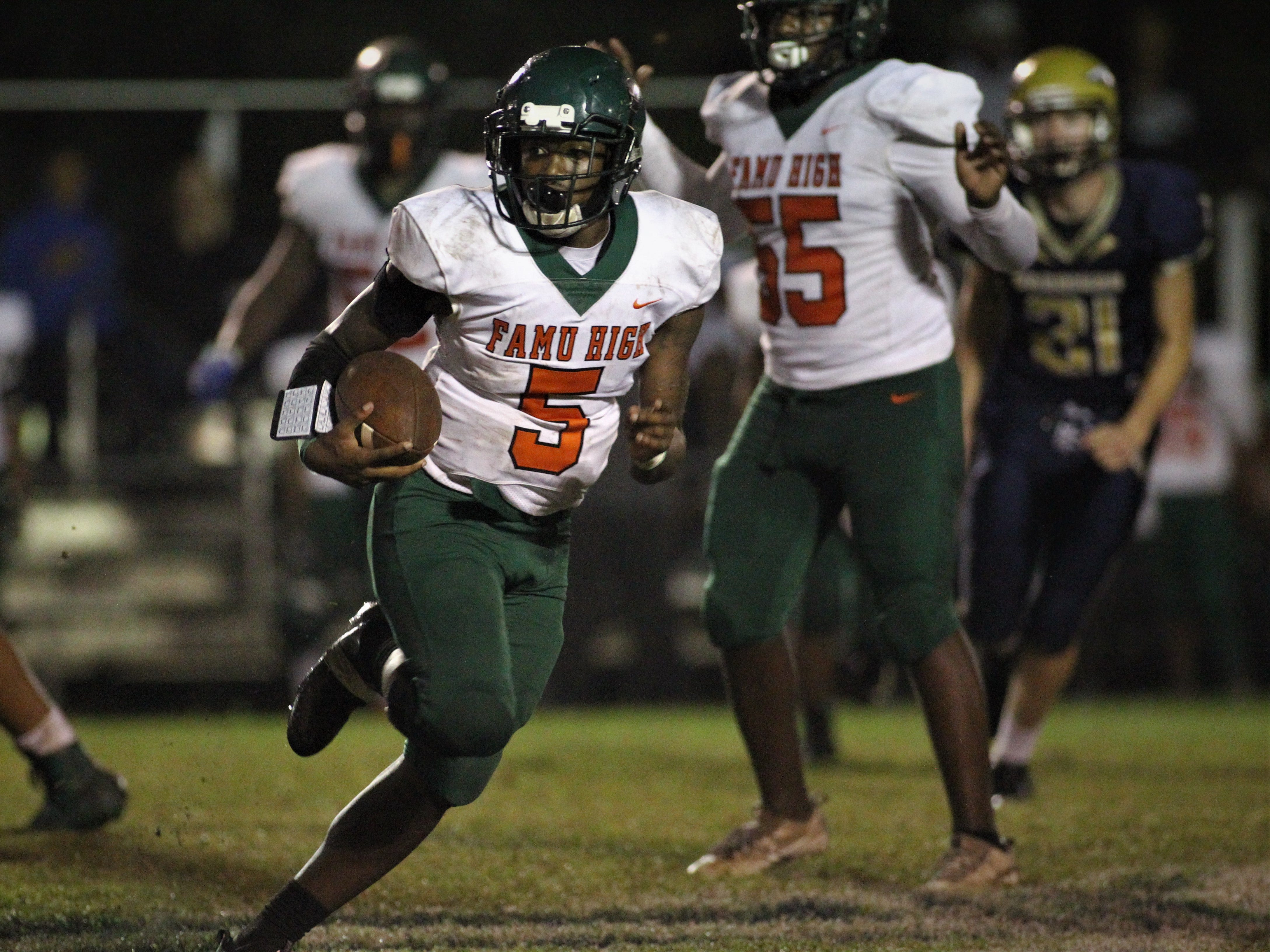 Rattlers quarterback Daryl Wilson ran for 85 yards and two touchdowns as FAMU DRS defeated Aucilla Christian 28-7 in a Region 1-2A quarterfinal playoff game on Friday, Nov. 9, 2018.