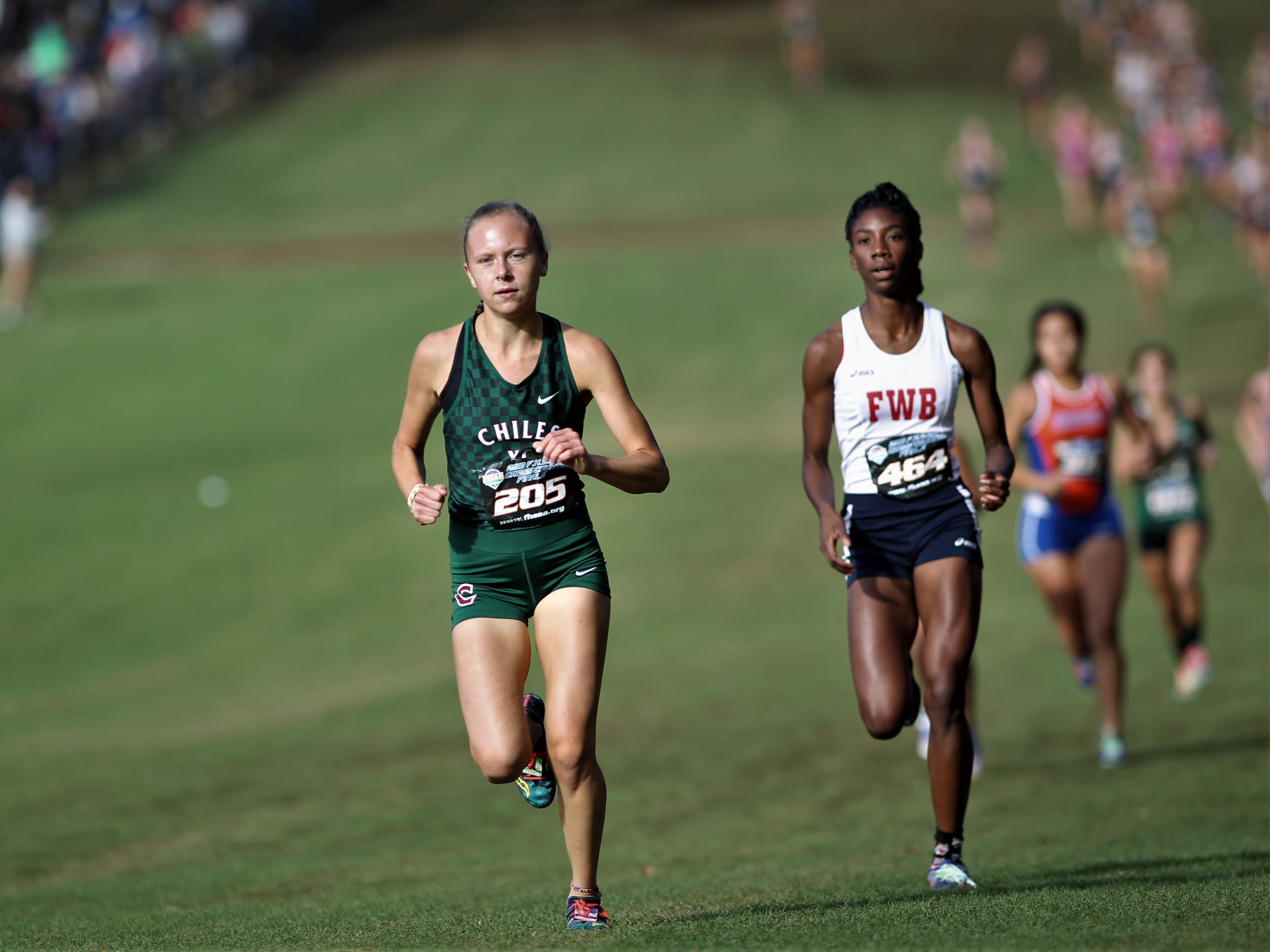 Chiles senior Abby Schrobilgen runs during the Class 3A race of the FHSAA Cross Country State Championships at Apalachee Regional Park on Saturday, Nov. 10, 2018.