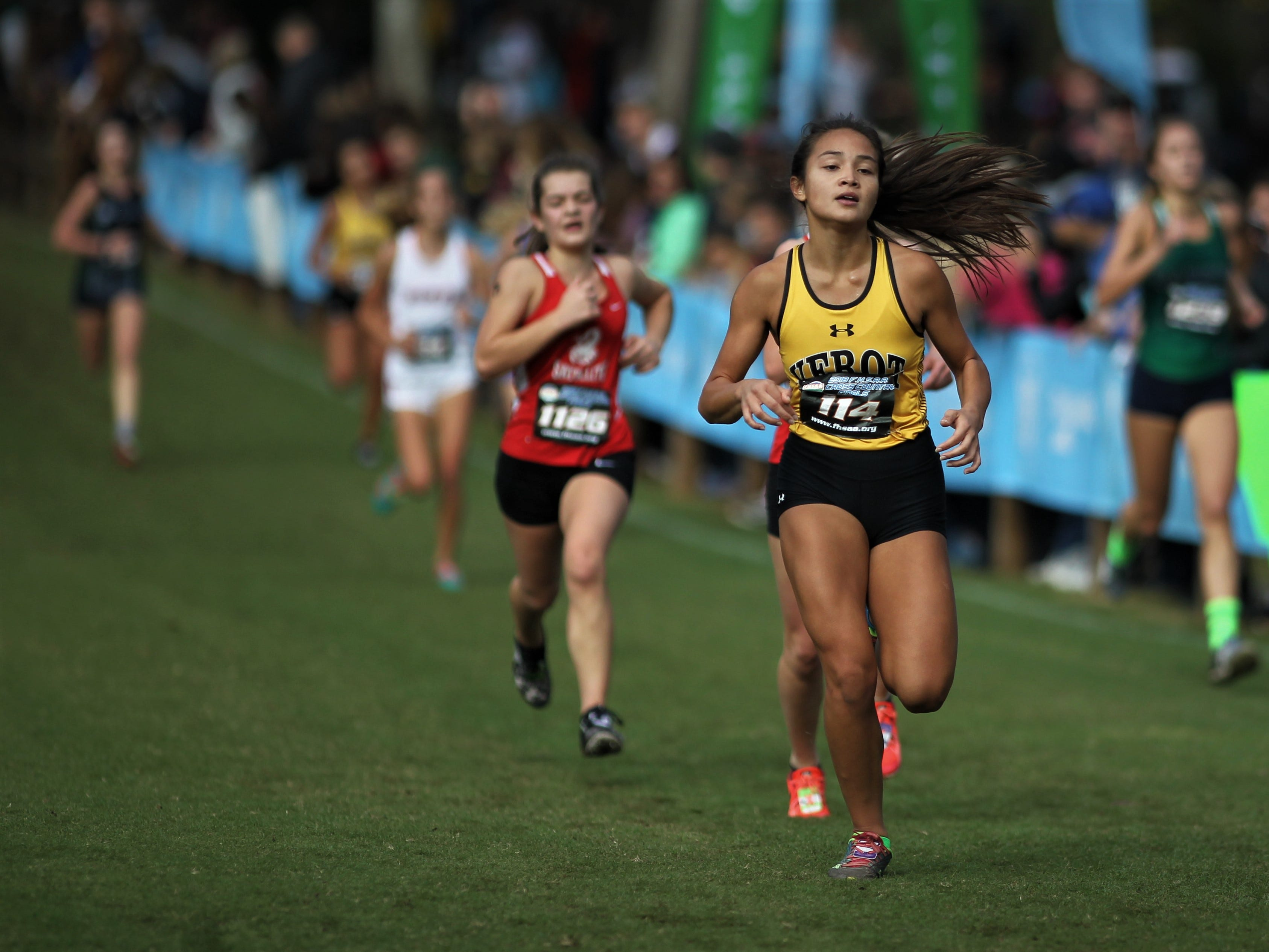 Bishop Verot junior Tracey Smith races in the Class 2A girls race of the FHSAA Cross Country State Championships at Apalachee Regional Park in Tallahassee, Saturday, Nov. 11, 2018.
