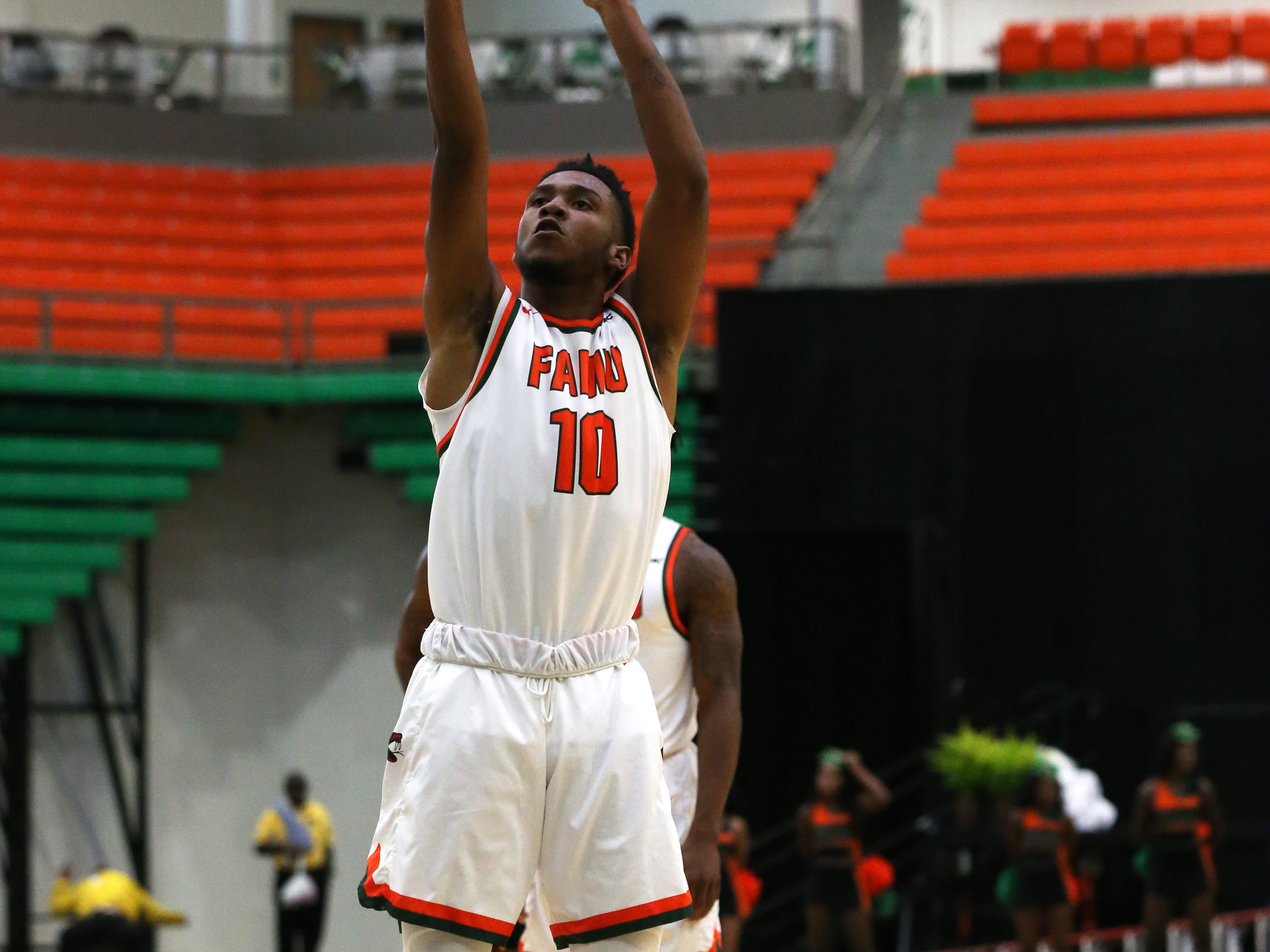 Florida A&M Rattlers guard Richard Anderson (10) shoots a free throw as the FAMU Rattlers take on the Tuskegee Golden Tigers in their first home game of the season in the Lawson Center, Saturday, Nov. 10, 2018.