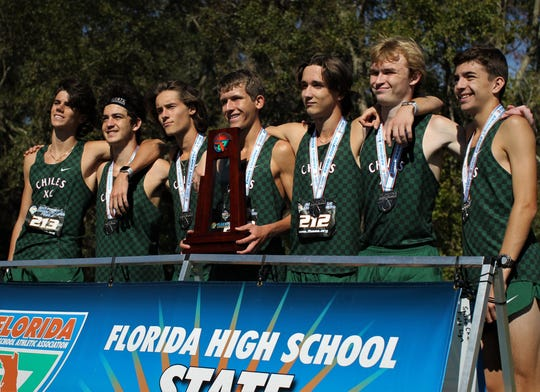Chiles' boys cross country team took home its fourth consecutive Class 3A state runner-up trophy at the FHSAA Cross Country State Championships at Apalachee Regional Park on Saturday, Nov. 10, 2018. L-R: Connor Phillips, Spencer Amsellem, Clay Milford, Hawthorne Hay, Sam Mountin, Shawn Marcum, Ben Kirbo.