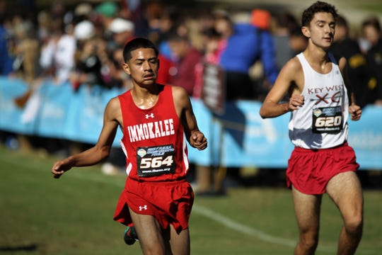 Immokalee sophomore Christian Cruz races to the finish of the Class 2A race at the FHSAA Cross Country State Championships at Apalachee Regional Park in Tallahassee, Saturday, Nov. 11, 2018.