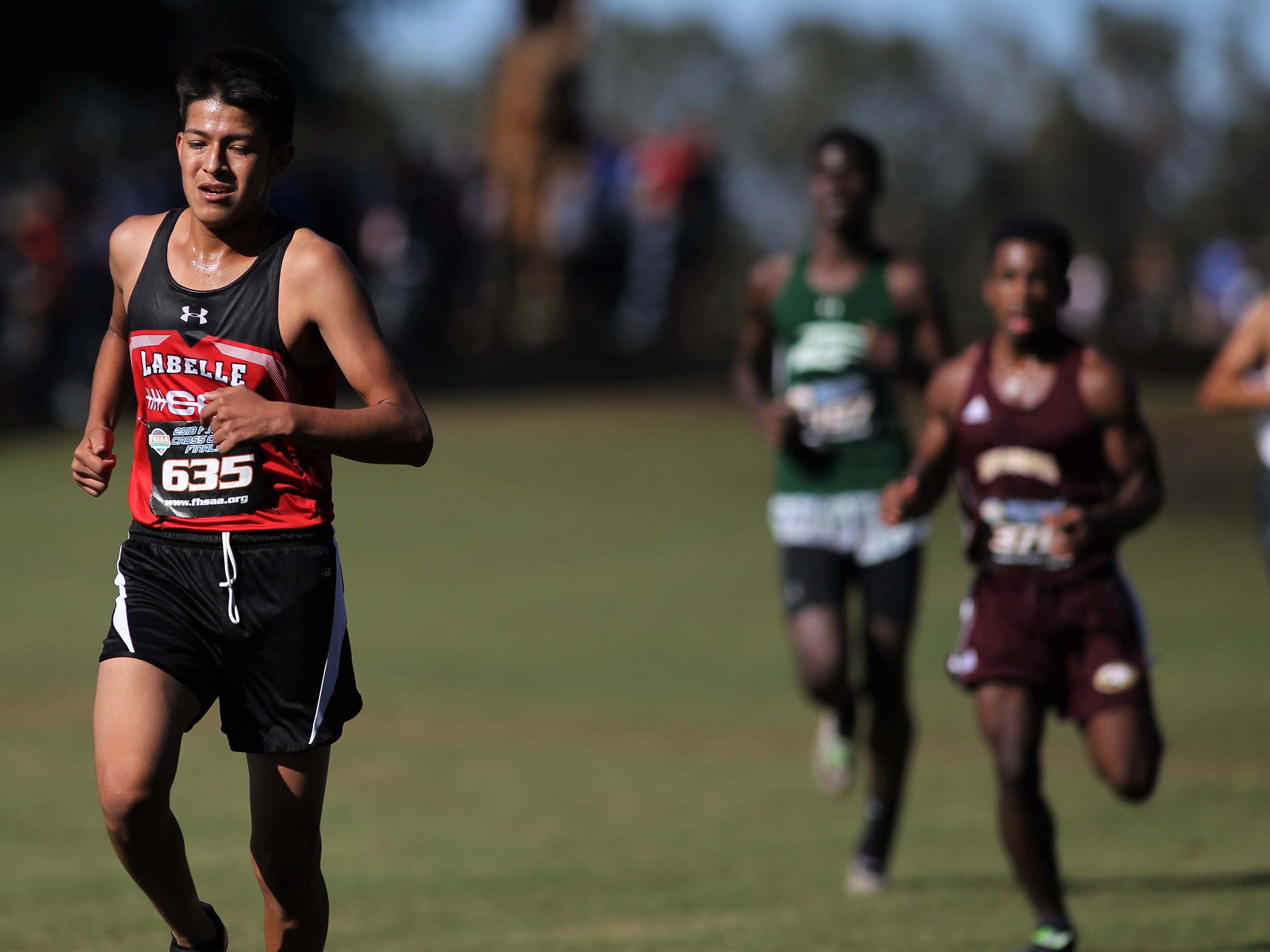 LaBelle's Brayan Beltran-Reyes races in the Class 2A boys race of the FHSAA Cross Country State Championships at Apalachee Regional Park in Tallahassee, Saturday, Nov. 11, 2018.