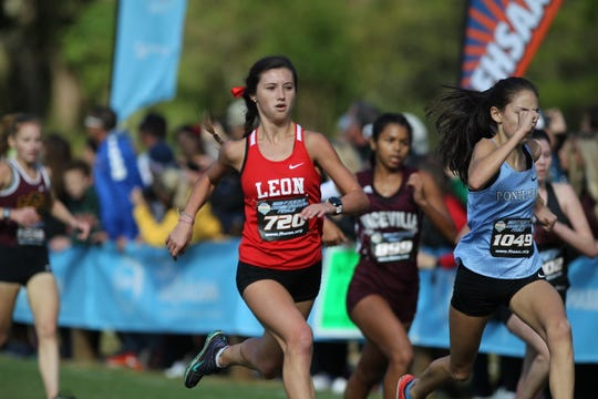 Leon senior Katherine Resavage races to the finish of the Class 3A girls race in the FHSAA Cross Country State Championships at Apalachee Regional Park on Saturday, Nov. 10, 2018.
