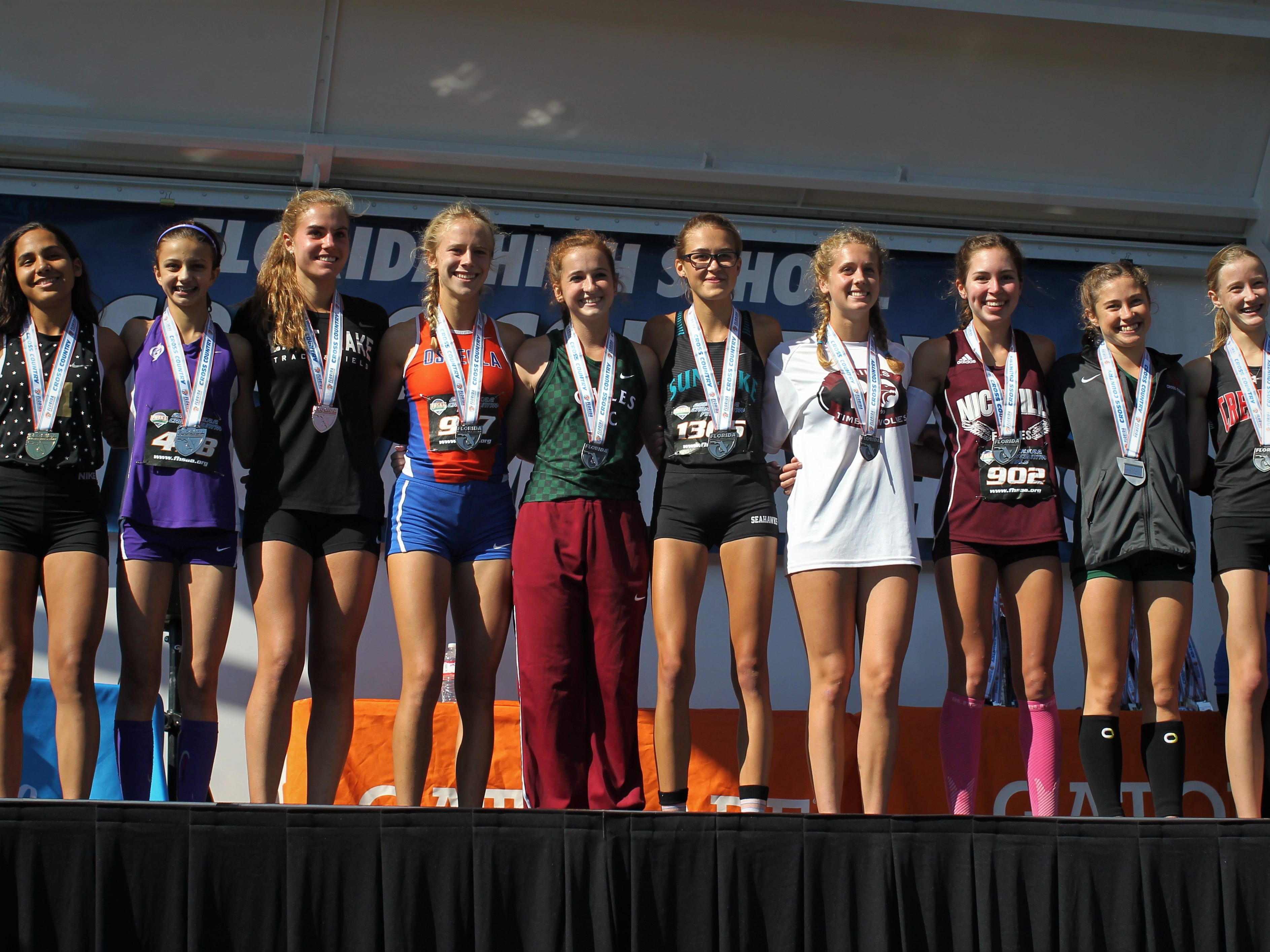 The Class 3A girls top 10 at the FHSAA Cross Country State Championships at Apalachee Regional Park on Saturday, Nov. 10, 2018. Chiles' Emily Culley (5th), Caitlin Wilkey (7th) and Alyson Churchill (9th) helped the Timberwolves to a state title.