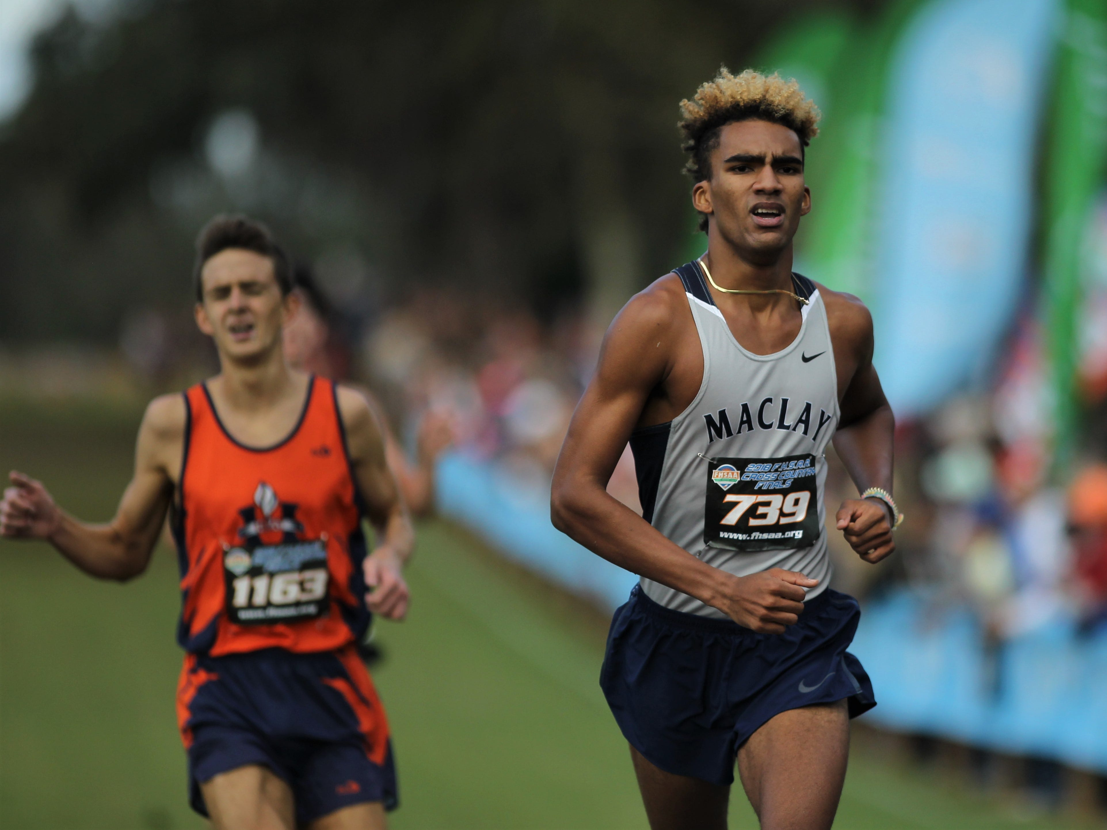 Maclay junior Jay Brown races to the finish of the Class 1A boys race at the FHSAA Cross Country State Championships at Apalachee Regional Park on Saturday, Nov. 10, 2018. Brown took third.