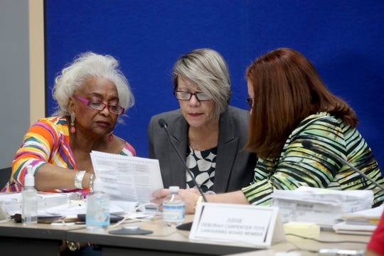 Broward County Supervisor of Elections Brenda Snipes, Judge Betsy Benson, and Judge Brenda Carpenter-Toye of the Broward county canvassing board continue to count votes, Friday, Nov. 9, 2018, in Lauderhill, Fla. (Mike Stocker/South Florida Sun-Sentinel via AP)