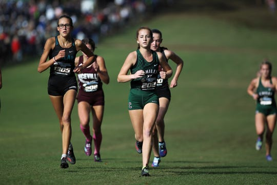 Chiles senior Emily Culley races during the Class 3A girls race in the FHSAA Cross Country State Championships at Apalachee Regional Park on Saturday, Nov. 10, 2018.