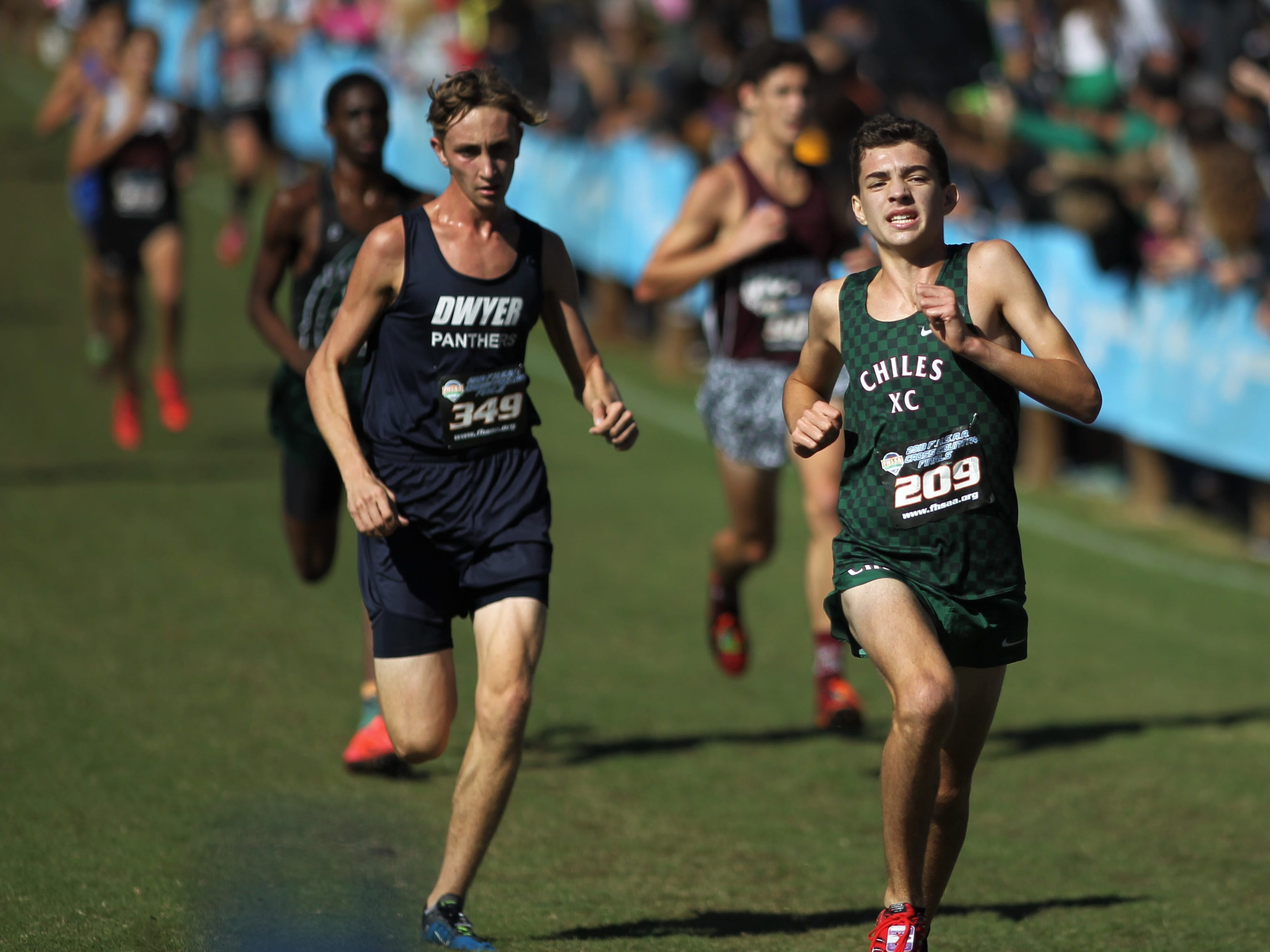 Chiles freshman Ben Kirbo races to the finish of the Class 3A boys race in the FHSAA Cross Country State Championships at Apalachee Regional Park on Saturday, Nov. 10, 2018.