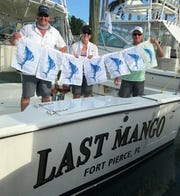 Steve and Maryann Vanya of Bethlehem, Penn. and Kevin Bohne of Tampa caught and released seven sailfish Thursday aboard Last Mango charters with Capt. Tris Colket out of Fort Pierce City Marina.