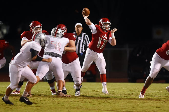 Vero Beach quarterback Nick Celidonio completed 21 of 26 passes for 326 yards and four touchdowns. He also rushed for one.