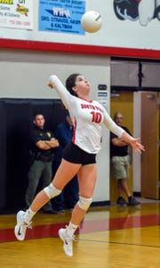 South Fork's Skylyr Magliochetti (10) serves the ball Saturday, Nov. 10, 2018, during her team's high school state semi-final volleyball match against Barron Collier (Naples) at South Fork High School in Tropical Farms. South Fork defeated Barron Collier (Naples) 3-2.