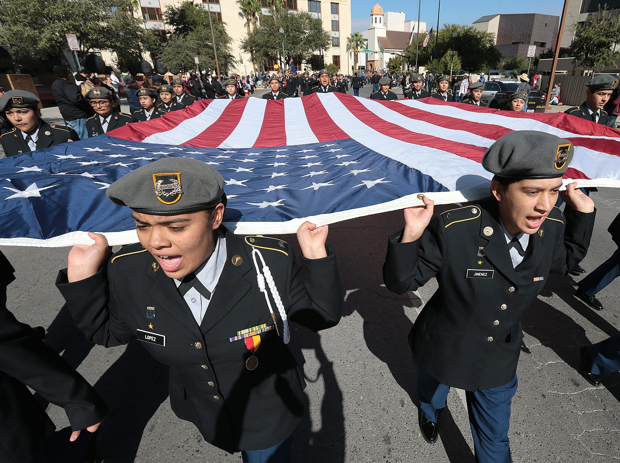 El Pasoans lined Downtown streets Saturday to pay tribute to veterans at the annual El Paso Veterans Day Parade.