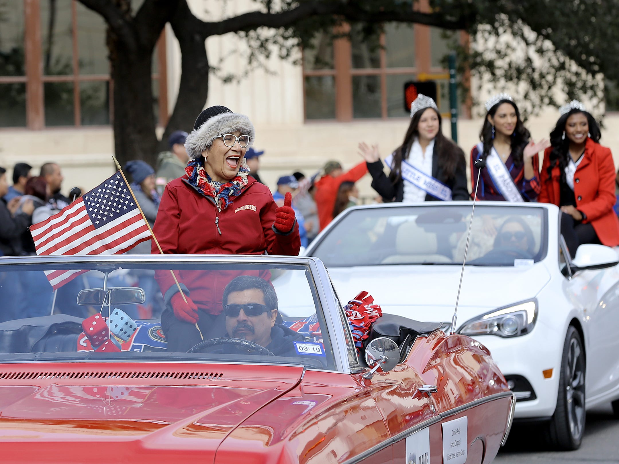 Marine Lance Cpl. Connie Pena served as the parade marshal for this year's Veterans Day Parade on Saturday in Downtown El Paso.