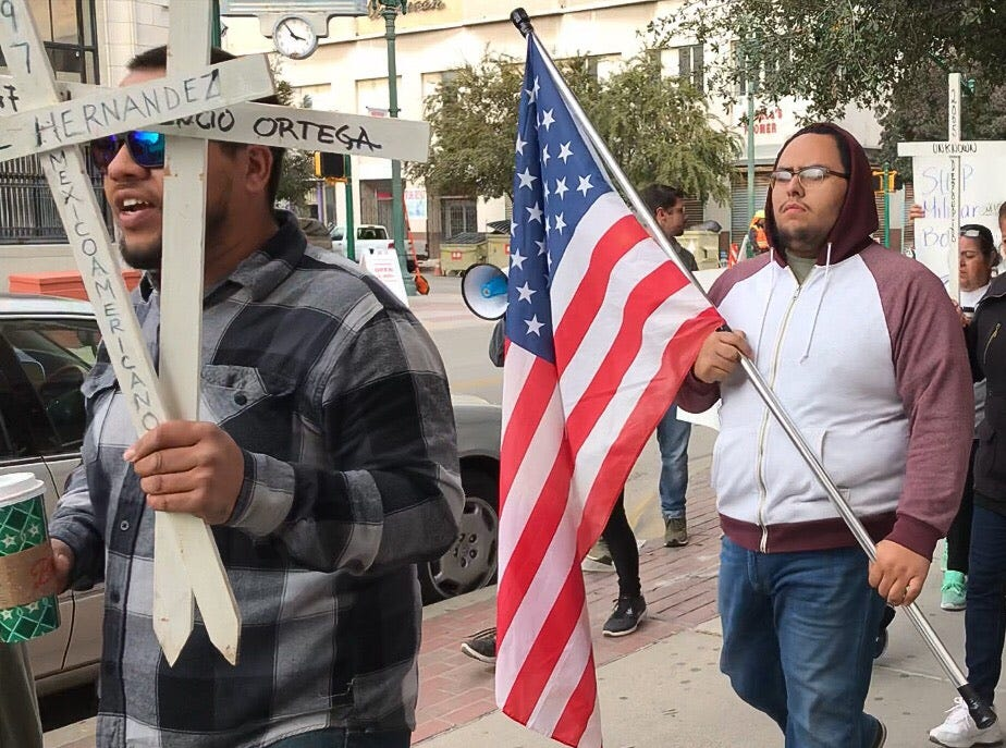 The Border Network for Human Rights, the Women's March El Paso, Las Americas Immigrant Advocacy Center and the Borderland Immigration Council led supporters in a protest Saturday, Nov. 10, 2018, in Downtown El Paso against the deployment of soldiers to the U.S.-Mexico border.