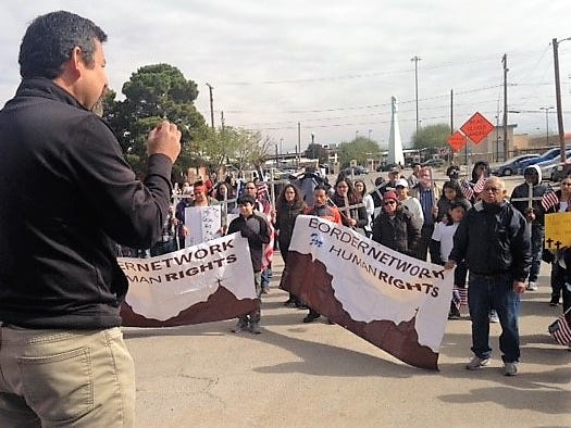 Fernando Garcia, executive director of the Border Network for Human Rights, speaks to about 100 marchers in the Chihuahuita neighborhood near Downtown El Paso during a Saturday, Nov. 10, 2018, protest against President Donald Trump's immigration policies.