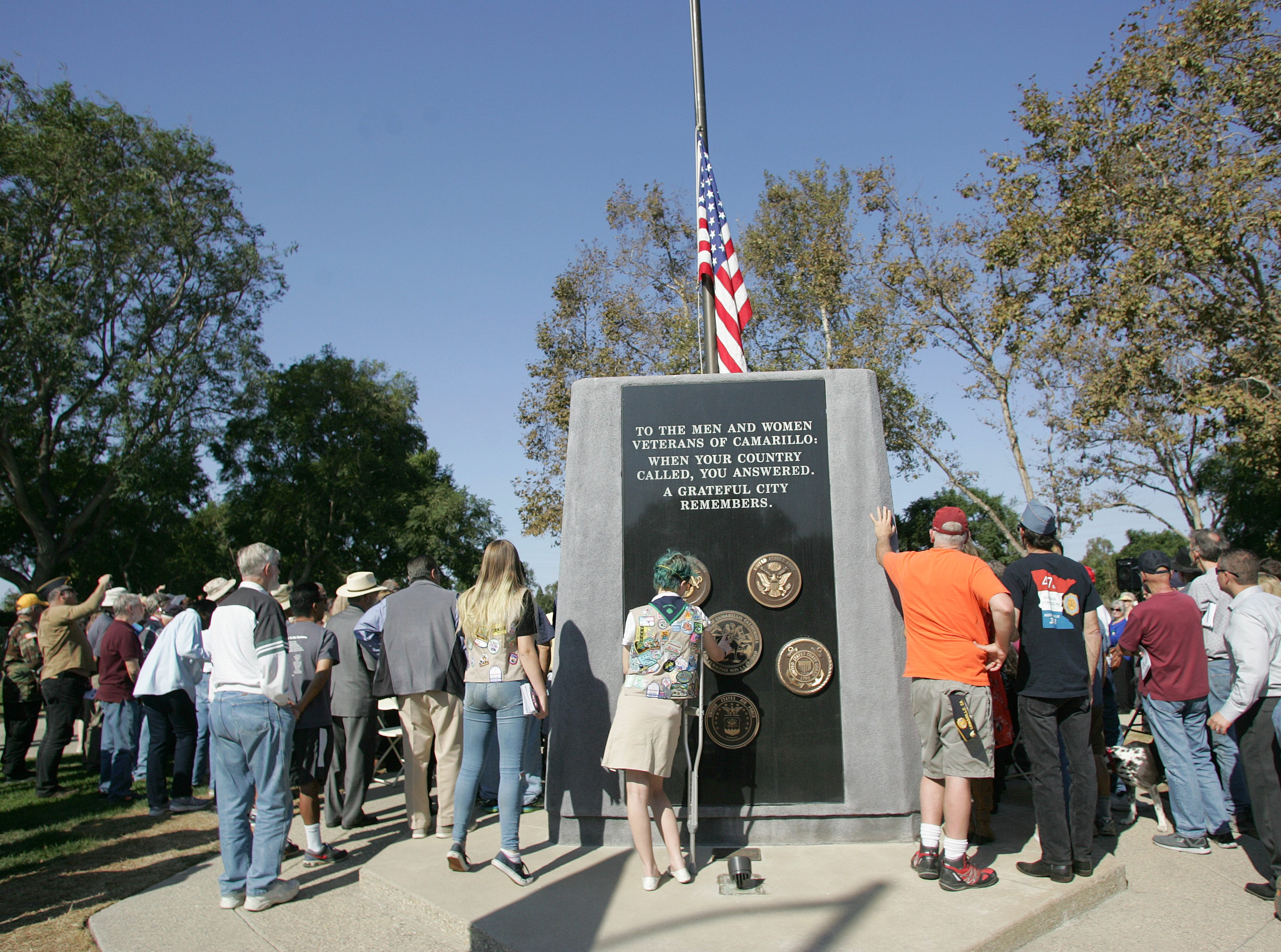 The audience gathers around the new veterans monument Saturday in Camarillo.