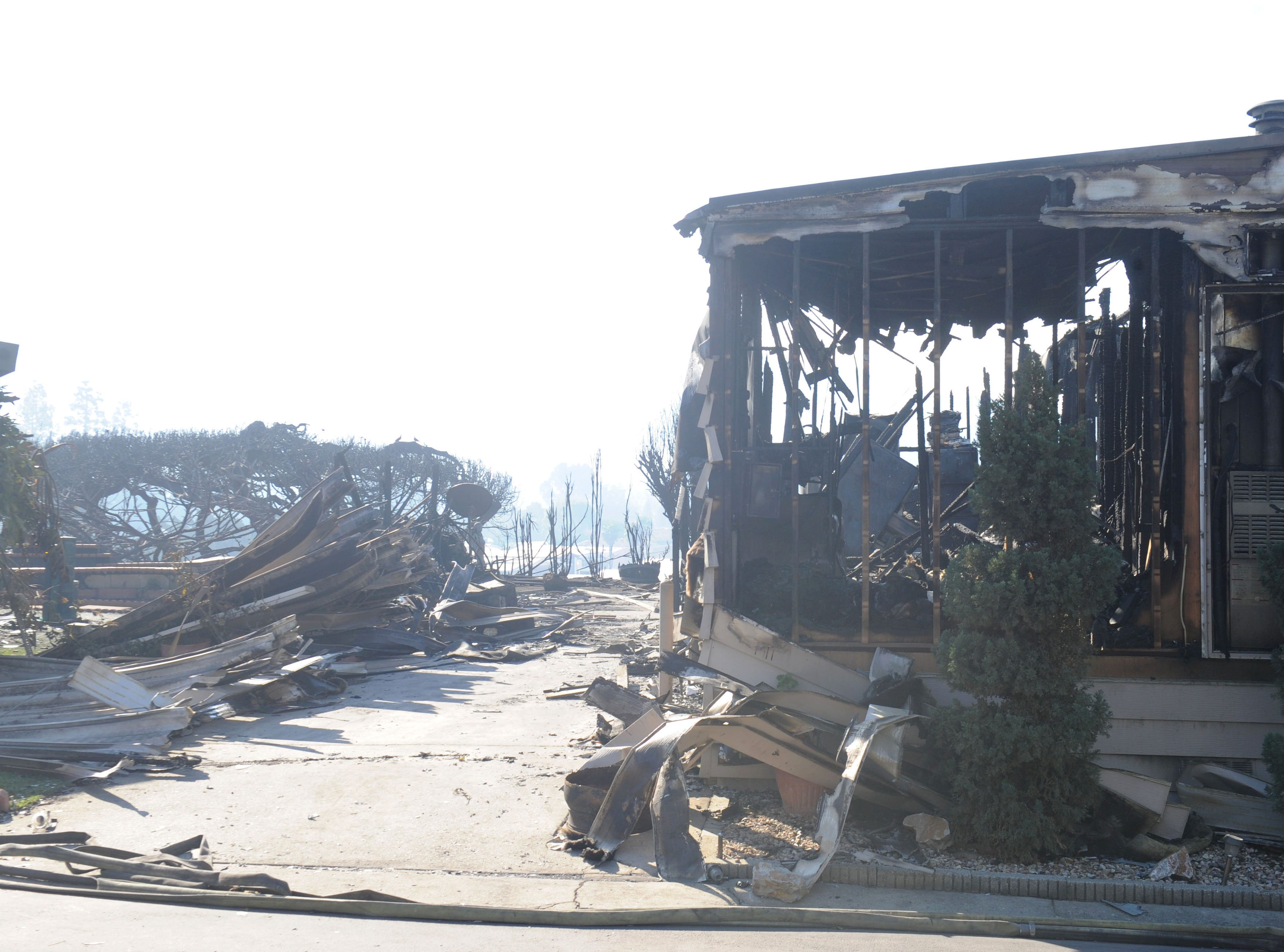 The Hill Fire burned a home inside Vallecito, a mobile home community on Old Conejo Road in Newbury Park.