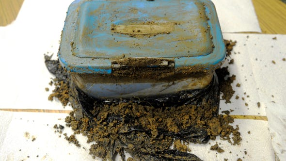 Former Bishop Schad students, now high school seniors, unearth a time capsule that they buried a decade ago when they were in second grade. The event took place on Friday, November 9, 2018.