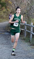 Aiden Lynch from Pleasantville, runs the boys Class C race during the 2018 NYSPHSAA Cross Country Championships at Sunken Meadow State Park in Kings Park, New York, Nov. 10, 2018.
