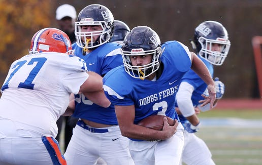 Dobbs Ferry's Awvise Khan (3) looks fro some running room in the Chester defense  during the regional championship game at Mahopac High School Nov. 9, 2018. Dobbs Ferry won the game.