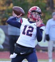Stepinac quarterback Joey Carino looks to make a throw during last week's CHSFL 'AAA' semifinal win over Iona Prep.