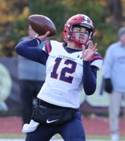 Stepinac quarterback Joey Carino looks to make a throw during last week's CHSFL 'AAA' semifinal win over Iona Prep.