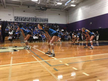Hen Hud players prepare to receive a serve from Cornwall during the Class A regional final at John Jay-Cross River. Nov. 10, 2018.