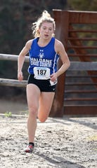Haldane's Shannon Ferri runs the girls Class D race during the 2018 NYSPHSAA Cross Country Championships at Sunken Meadow State Park in Kings Park, New York, Nov. 10, 2018.