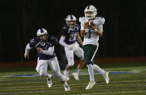 Cornwall's Alex Suarez (1) catches a first half touchdown pass against John Jay during the regional championship game at Mahopac High School Nov. 9, 2018.