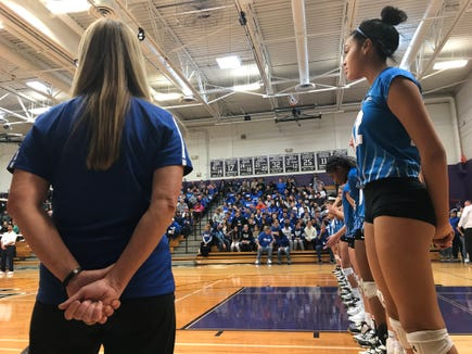 Hen Hud volleyball head coach Diane Swertfager and junior middle blocker Caitlin Weimar during the starting lineup announcements of the Class A regional final against Cornwall. Nov. 10, 2018.