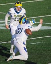Delaware placekicker Frank Raggo watches as holder Nick Pritchard loses the handle on a field goal attempt in the third quarter of the Blue Hens' 17-3 loss at Stony Brook Saturday.