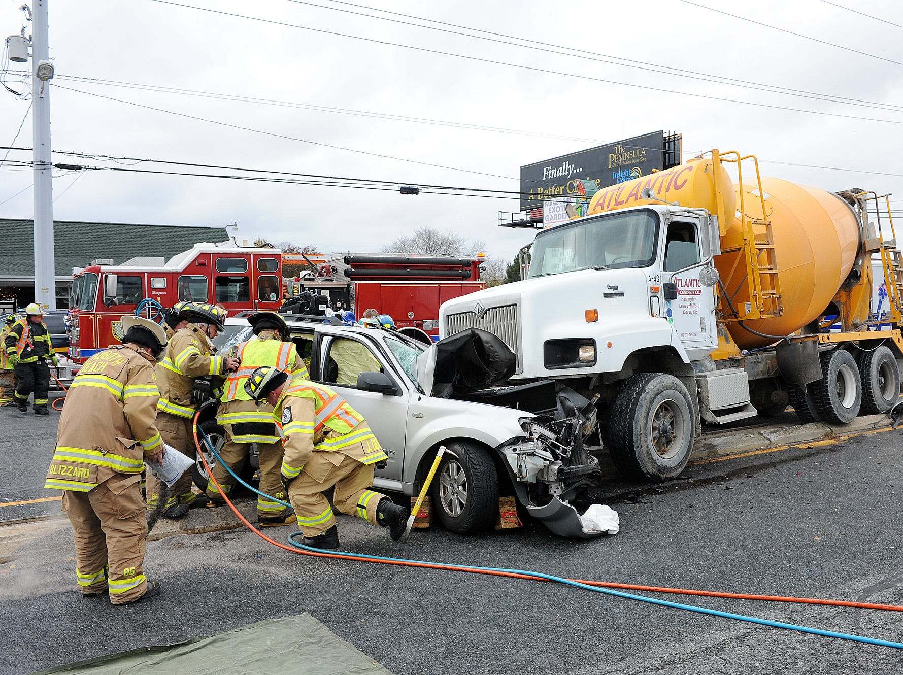 A serious vehicle accident on Coastal Highway south of Rt. 24 north of Rehoboth Beach between a Cement Truck and a SUV resulted in 2 patients being transported to Beebe Medical Center in Lewes at 9:44 am Friday morning.