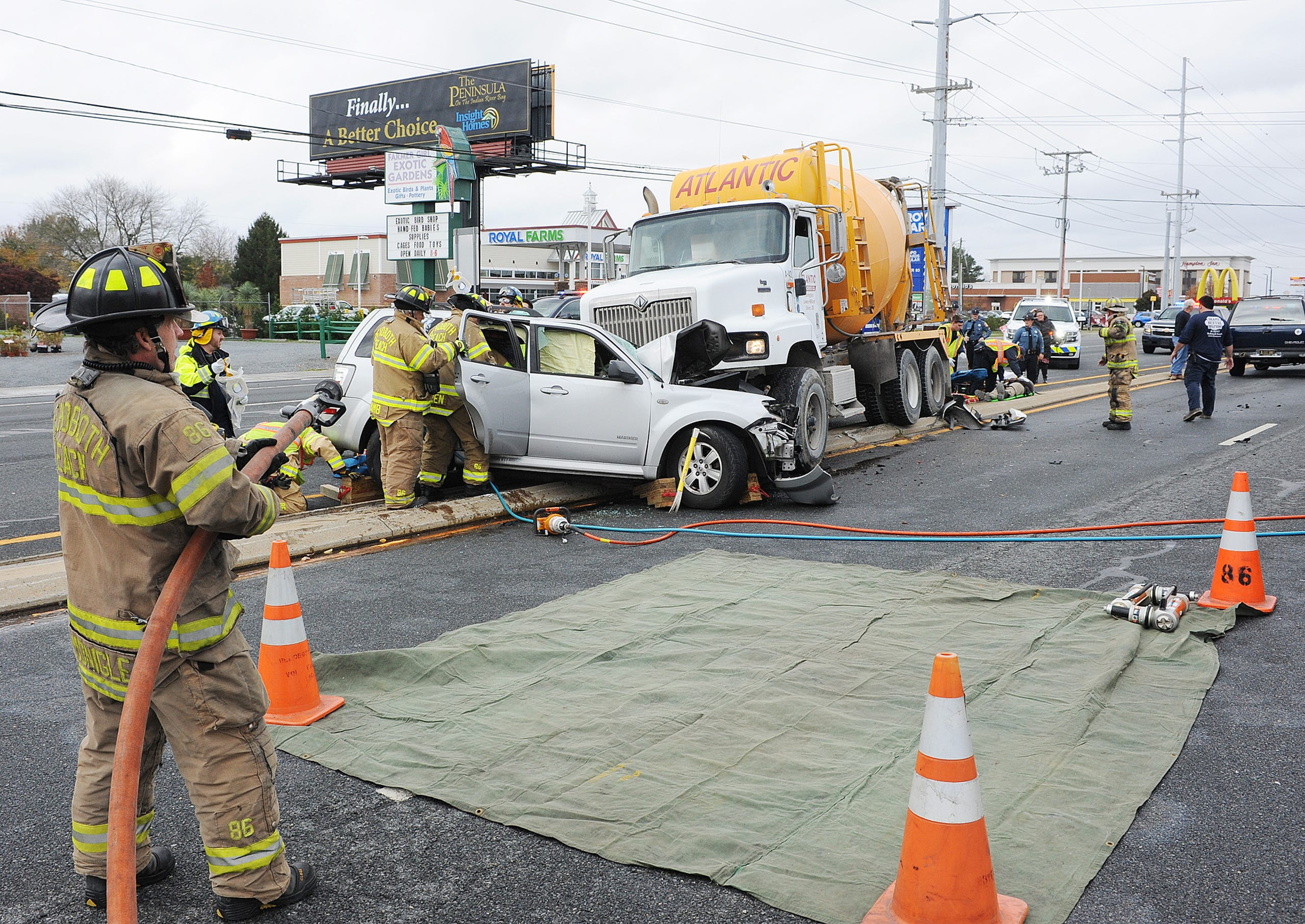 SUV collides with cement truck near Rehoboth Beach