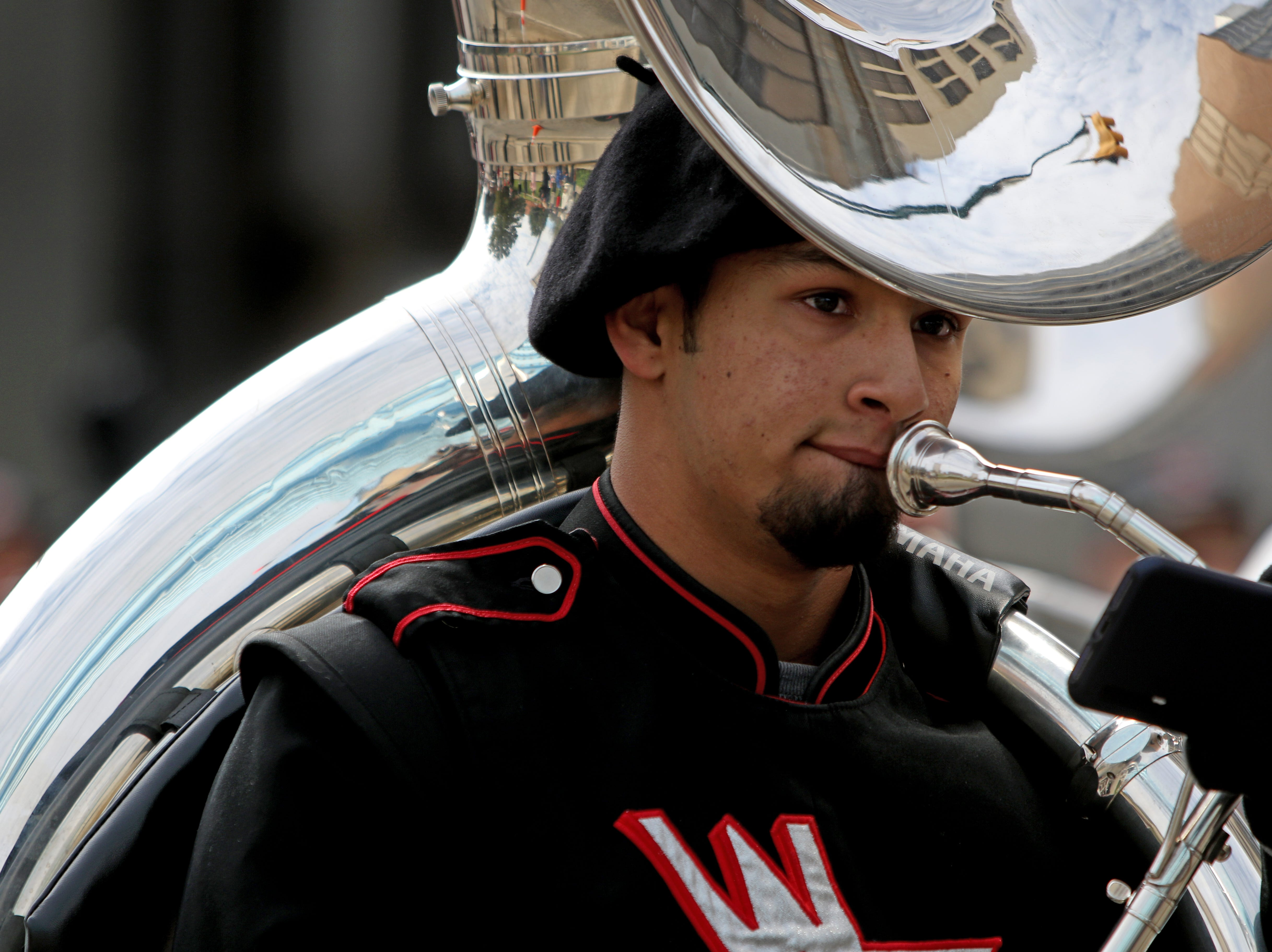 The Wichita Falls High School marching band takes part in the Veterans Day parade Saturday, Nov. 10, 2018, in downtown Wichita Falls on the 100th anniversary of the Armistice of Compiègne that ended fighting in World War I.