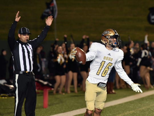 Rider receiver Noah Randall (16) scores a second half touchdown Friday night at Memorial Stadium. Rider defeated Wichita Falls High, 45-27.