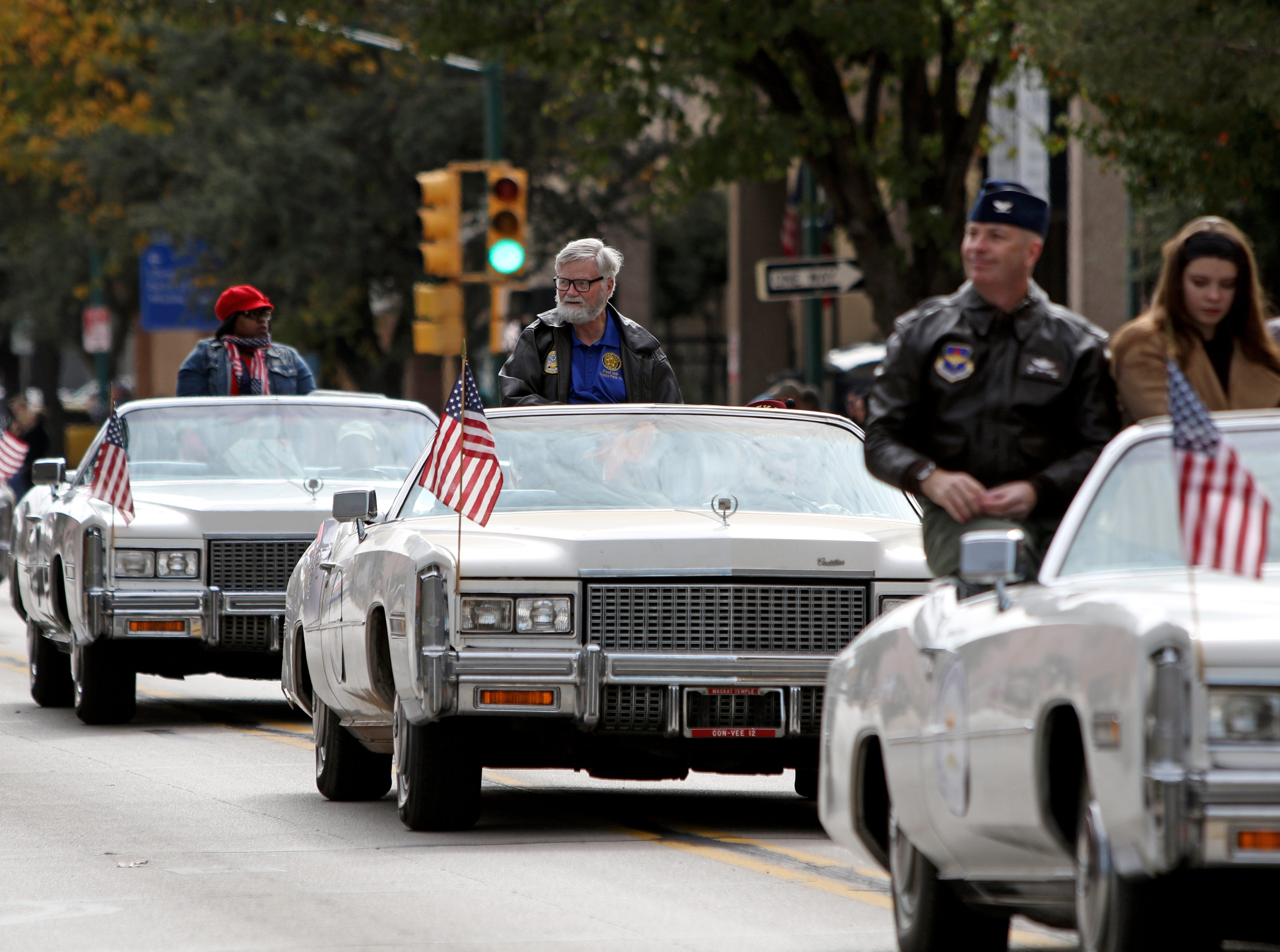 Wichita Falls dignitaries lead the Veterans Day parade Saturday, Nov. 10, 2018, in downtown Wichita Falls on the 100th anniversary of the Armistice of Compiègne that ended fighting in World War I.